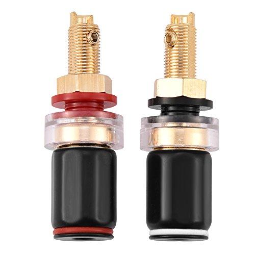 Lazmin 2 stücke Draht-anschlussklemmen, Freies Schweißen Kupferklemme Lautsprecher Spaten Terminals für 4mm Bananenstecker, Black & Red