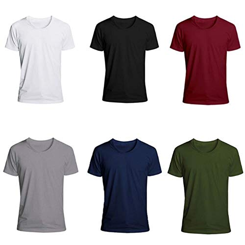 ALDD Mens Summer Short Sleeve T-Shirts Solid Color Casual Sport Blouse Slim Fit Round Neck Trendy Fashion Workout Pullover Tops M-2XL,E,XL
