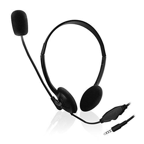 Ewent EW3567 - Auriculares de diadema abiertos para smartphone/tablets (con micrófono)