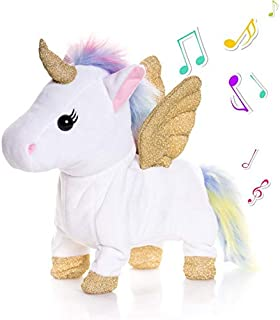 TACY 25cm Electronic Pet Unicorn Singing and Walking Plush Toys Pegasus Robot Horses Musical Puppy Pony Pet Soft Toys Gift Toy for Baby Toddlers Kids Pets (White)