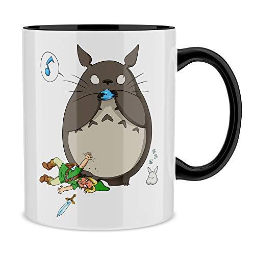 Okiwoki Mug Noir Zelda parodique Totoro et Link : Ni Vu ni connu. (Parodie Zelda)