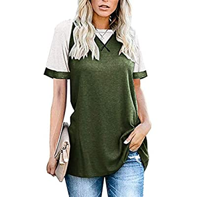 UOFOCO Women's Casual Loose Patchwork T-Shirts Short Sleeve Round Neck Tops