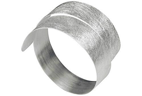 SILBERMOOS Damen Armreif Armspange offen gewickelt flexibel gebürstet Spirale 925 Sterling Silber