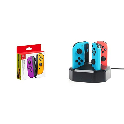 Nintendo Joy-Con 2er-Set, neon-lila/neon-orange & Amazon Basics Ladestation für 4 Joy-Con-Controller der Nintendo Switch, 0.792M langes Kabel, Schwarz