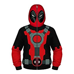 Leezeshaw Unisex Boys Girls 3D All Over Deadpool Print Zip Up Hoodie Jacket Patterned Sweatshirt with Pocket
