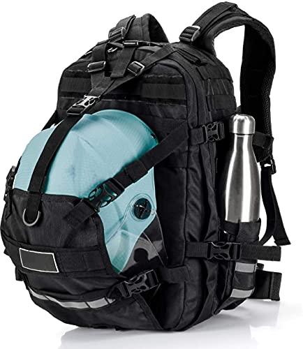 バイク用 へルメットバッグ 一体型 撥水 バイク リュック メンズ 汎用 26L バイク用デイパック拡張機能あり オートバイ サイクリングバッグ フルフェイス ハーフヘルメットバックパック収納用 大容量 多機能 オフトコ リュック バスケットボールバック