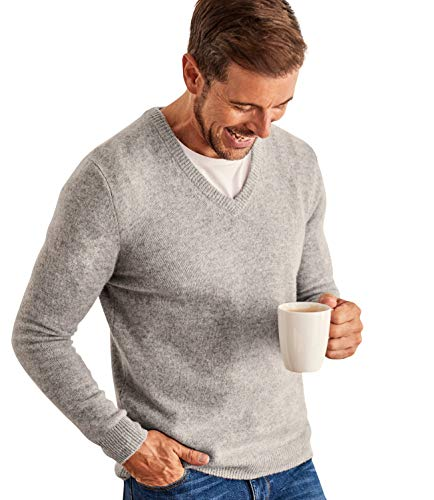 Wool Overs Mens Lambswool V Neck Knitted Sweater Grey Marl XXL