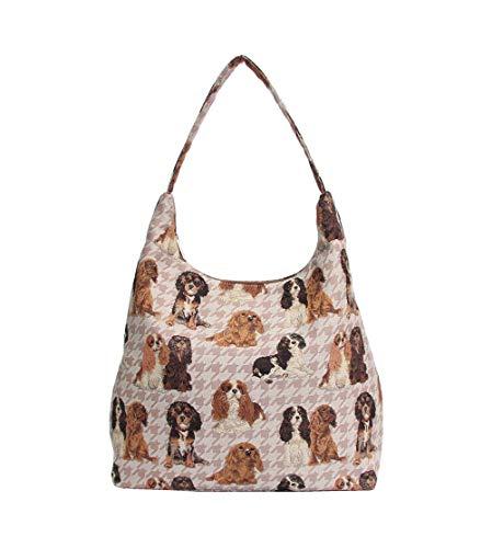 Signare Tapestry Arazzo Arazzo Borsa a Tracolla Donna, Borse Tote per Donne, Hobo bags con Disegni di Animali (Cavalier King Charles Spaniel)