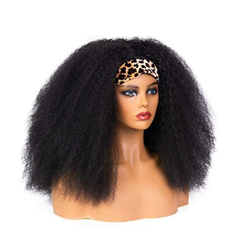KXW Peluca Afro rizada, Peluca de Diadema Recta y rizada, Peluca de Turbante con Estampado de Leopardo Yaki Mullido para Mujer Negra Peluca sinttica (Peluca con Estampado de Leopardo)