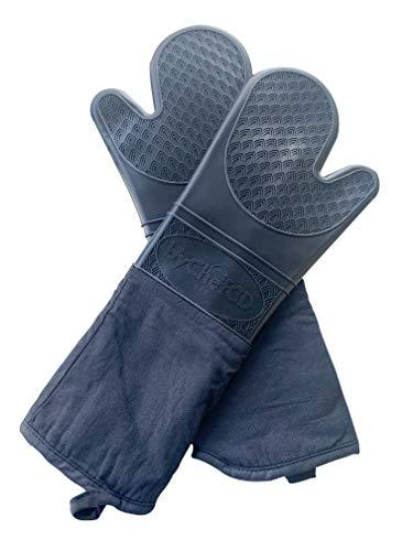 Manoplas de silicona extra largas para horno, guantes de silicona, resistentes al calor, guantes de cocina profesionales,...