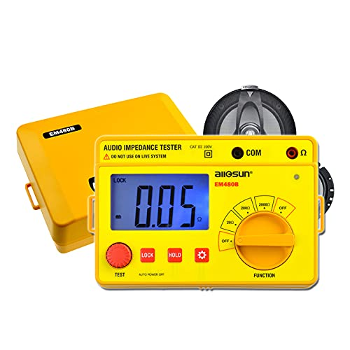 allsun Digital Insulation Resistance Meters Earth Audio Impedance Tester Handheld Megohmmeter Speaker Voice Resistor Ohmmeter LCD Backlight, Yellow(EM480B)