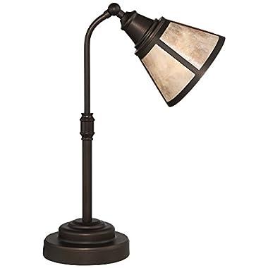 Malta Satin Bronze Mica Shade Desk Lamp