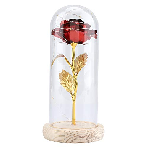 GLOGLOW Cúpula de Cristal de Rosa conservada, Flor de Seda de Bestia