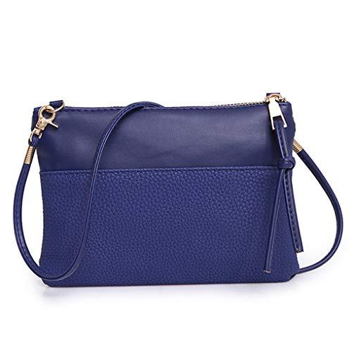 Dorical Damen Handtasche Crossbody Einfach Klein Schultertasche Retro Umhängetasche Kuriertasche aus KunstlederTragetasche Taschen Handtaschen Leichte Stylische Tote Bag für Frauen(Blau)
