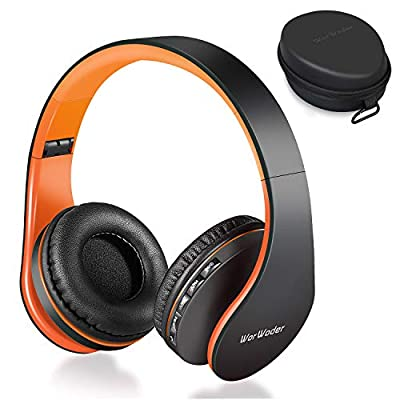 Wireless Bluetooth Over Ear Stereo Foldable Headphones,Wireless and Wired Mode Headsets with Soft Memory-Protein Earmuffs,Built-in Mic for Mobile Phone PC Laptop (Black-Organge) by Worwoder
