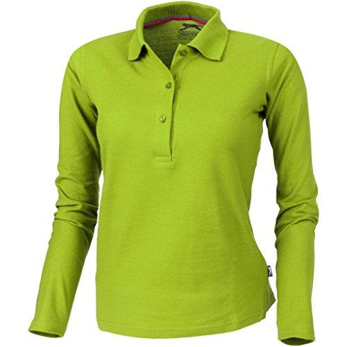 Slazenger Point - Polo a Maniche Lunghe - Donna (L) (Verde Mela)