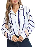 SWEETASE Button Down Shirts for Women Oversize Tie Dye Long Sleeve Blouses Shirts with Pocket Pink Medium