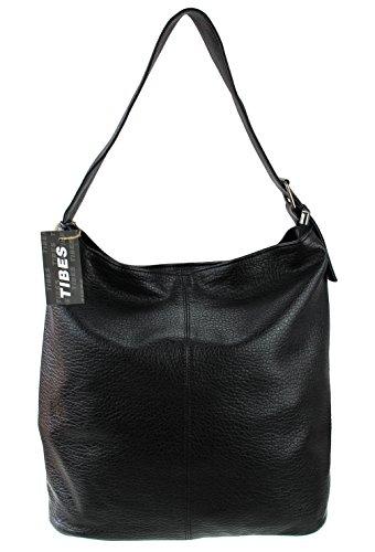 borsa a tracolla portatile borsa semplice Tibes moda sacchetto di cuoio dell'unità di elaborazione tote Nero