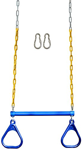 Jungle Gym Kingdom 18' Trapeze Swing Bar Rings 48' Heavy Duty Chain Swing Set Accessories & Locking Carabiners (Blue)