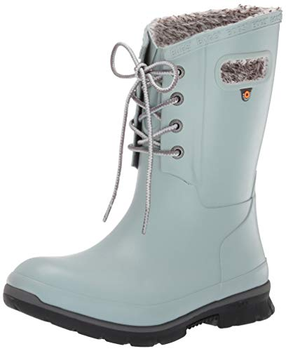 BOGS Women's Amanda Plush Lace Up Waterproof Insulated Rain Boot, Jade, 7 M US