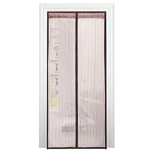 HongHe Cortina Mosquitera Magnetica antimosquitos, con Malla Super Fina para para Puertas Correderas/Balcones/Terraza(140x245cm(55x96inch), Brown)