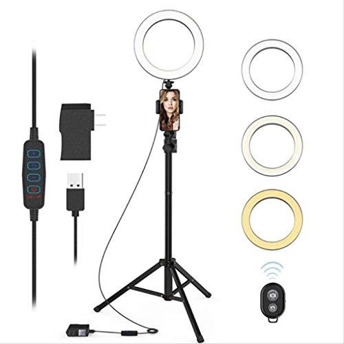 Anillo de luz para fotografía móvil de 16/26 cm con soporte y soporte para teléfono, anillo de luz USB para autofoto con soporte para teléfono celular, anillo de luz con 160 cm para YouTube, Instagram