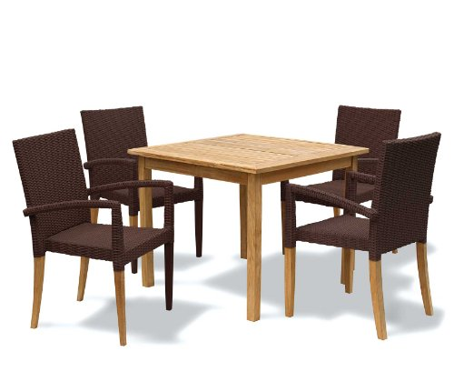 Jati Seville Garden Furniture Set - Square Teak Table and 4 Rattan Stacking Chairs - Java Brown Brand, Quality & Value