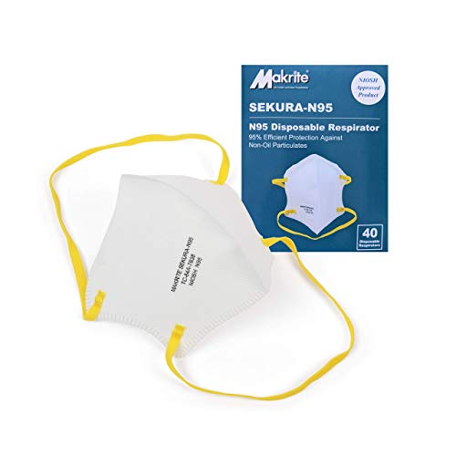 Makrite SEKURA N95 Foldable Particulate Respirator Mask, NIOSH Certified, M/L Size (Box of 40 Masks)