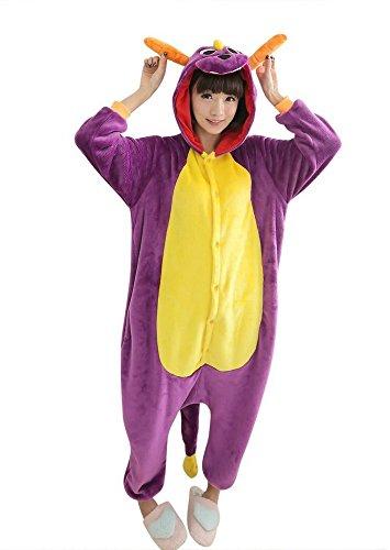 Emmarcon - Disfraz de carnaval halloween pijama cálido de animales kigurumi cosplay zoológico onesies L/altezza 170-179cm,max 100kg Drago viola