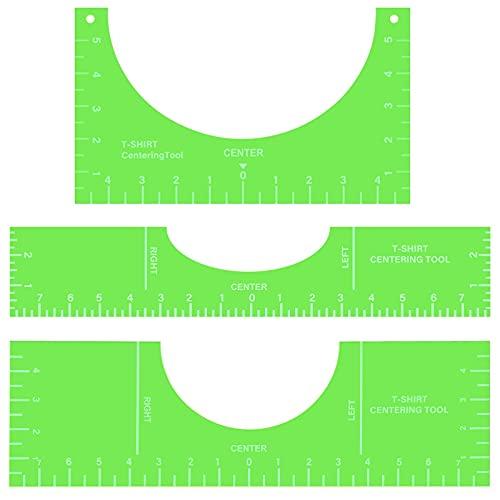 3 Herramientas Alineación Centrar de Camiseta Plantilla PVC Regla Guía Colocación Medición Vinilo de Tamaño Personalizado, 10 x 5, 16 x 5, 16 x 3 Pulgadas (Verde Fluorescente)