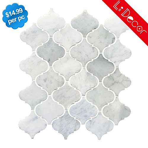 LI DECOR Italian Bianco Carrara White Marble Arabesque Lantern Mosaic Tile Wall Floor Decorative Bathroom Kitchen Backsplash Tiles (3.27sf,4Pack Per Case), Polished
