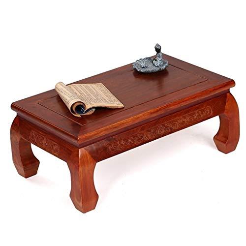 Mesas de centro Mesa de café Muebles de Caoba Mesa de Ventana de la bahía Chino Antiguo de Madera Maciza Tatami Mesa de té Baja Mesa de té (Color : Brown, Size : 71 * 41.5 * 27.5cm)