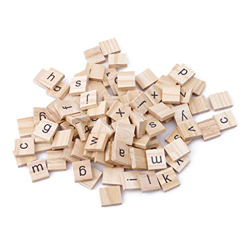 LJSLYJ Kinder Scrabble Holz Buchstaben Spielzeug DIY Handwerk Dekoration Lernspielzeug(Kleinbuchstaben)