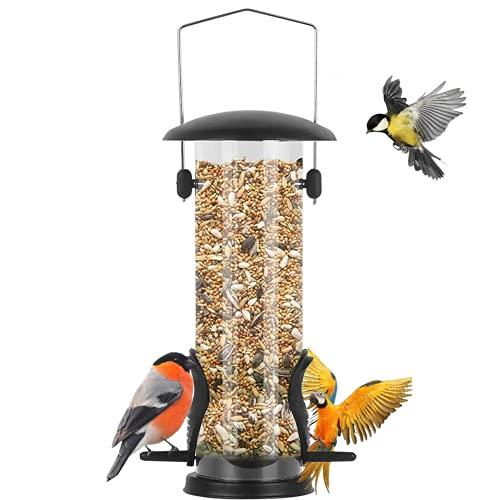 Futtersäule, Vogelfutterspender mit 2 Futterständern Ganzjährige Nutzung Vogelfutterhaus mit 21,5 cm Massivem Transparentrohr Hängend Futterhaus für Vögel Garden