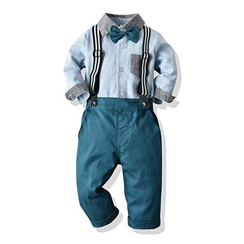 Yokald 4tlg Baby Jungen Bekleidungssets Anzug Kleid Strampler + hosenträger Fliege Krawatte Anzug Gentleman Festliche Taufe Hochzeit Langarm Baby Kleikind 6 Monate - 6 Jahre (Blau002, 4T)