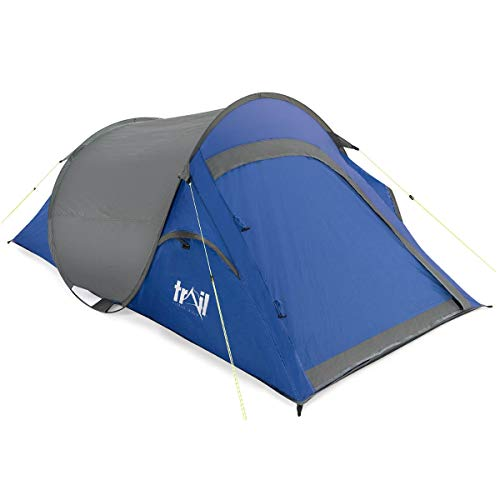 trail outdoor leisure 2 Man Pop Up Tent Waterproof at 1500mm HH Single Skin Camping Festival (Blue)