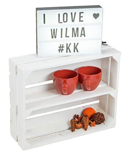 flaches Obstkistenregal Wilma längs weiß Weinkistenrgegal Gewürzregal Weinkistenregal Tassenschrank Regalkiste