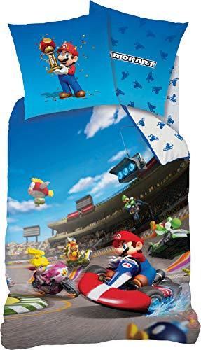 CTI Kinder-Wendebettwäsche Mario Kart Renforcé blau Größe 135x200 cm (80x80 cm)
