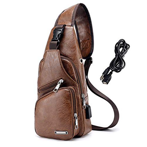 Men PU Leather Sling Backpack Small Chest Shoulder Crossbody Bag with USB Charging Port for Travel Hiking Cycling Light Brown