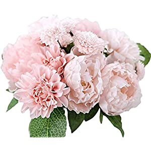 LiuliuBull Artificial Silk Flowers Wedding Dahlia Peony Chrysanthemum Bridal Bouquet Party Home Outdoor Decor. (Color : Pink)