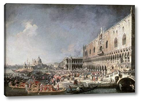 """Reception of French Ambassador in Venice by Canaletto - 11"""" x 16"""" Canvas Art Print Gallery Wrapped - Ready to Hang"""