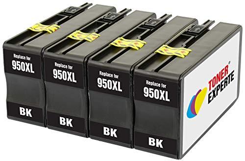 TONER EXPERTE 4 XL Negros Cartuchos de Tinta compatibles con HP 950 950XL CN045AE OfficeJet Pro 8100 8600 8610 8615 8616 8620 8625 8630 8640 8660 251dw 276dw   Alta Capacidad (2300 páginas)