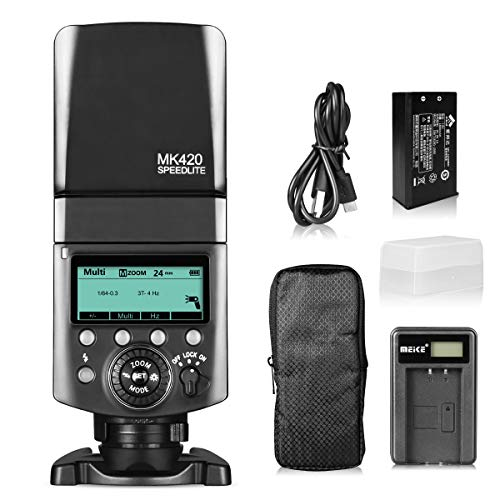 Meike MK420S TTL Li-ion Battery Camera Flash Speedlite with LCD Display for Sony Mi Hot Shoe Mount Cameras such as A6000 A6100 A6300 A6400 A6500 A6600 A7III A9 A7RIII A7RIV A7SII A7SIII etc