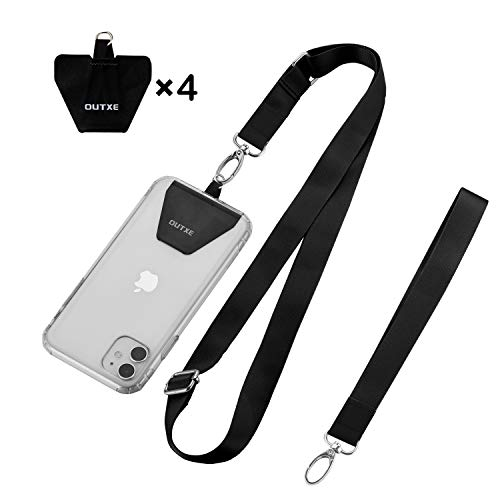 OUTXE Universal Phone Lanyard - 4× Durable Pads, 1× Adjustable Neck Strap, 1× Wrist Strap, Nylon Cell Phone Lanyard Compatible with iPhone, Samsung Galaxy and All Smartphones ( Black )
