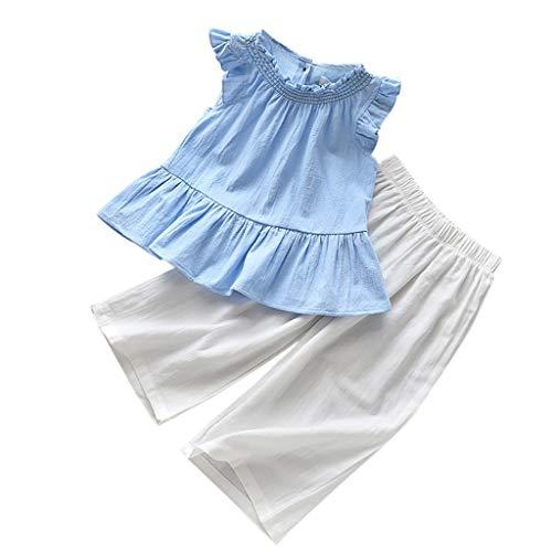 LEXUPE Kinder Baby Mädchen Casual Pure Color Ruffle Ärmellose Tops + Wide Leg Pants Set(Hellblau,110)