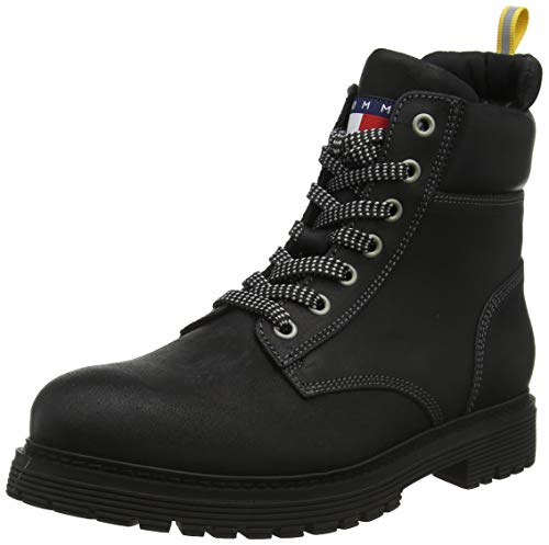 Tommy Hilfiger Tommy Jeans Outdoor Sued Boot, Botas Clasicas para Hombre, Negro(Magnet 008), 44 EU