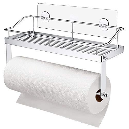 Delgeo Porta Carta da Cucina, Supporto a Parete e Porta Rotolo di Carta Lgienica Senza Foratura, Supporto in Acciaio Inox per Bagno, Cucina e Toilette (Argento)