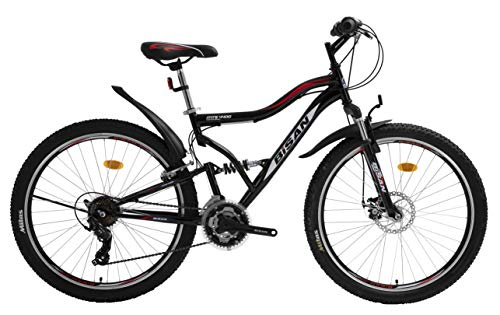T&Y Trade 26 Zoll Kinder Jugend Jungen Herren Mädchen Fahrrad Kinderfahrrad MTB Mountainbike Jugendfahrrad Rad Bike 21 Gang Shimano Fully VOLLFEDERUNG Disk Scheibenbremse 4400 Schwarz Rot