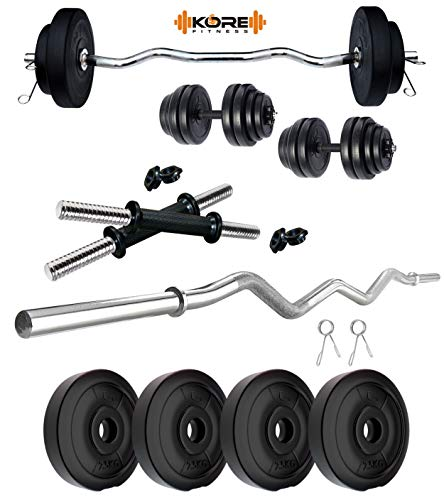 Kore PVC 10 KG Combo 3 WB-Wa Home Gym Set with One 3 ft Curl Rod and One Pair Dumbbell Rods