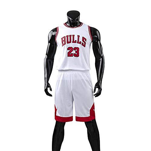 RuiyouQQ Kinder Junge Herren Michael Jordan # 23 Chicago Bulls Retro Basketball Shorts Sommer Trikots Basketballuniform Top & Shorts Basketball Anzug (White, XL for Kids)